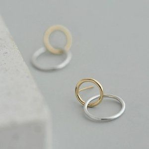 Sterling Silver Two Tone Double Circle Earrings